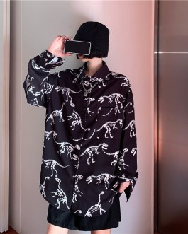 Casual Dinosaur Print Loose Long Sleeved Shirt