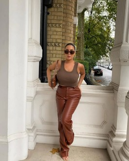 Casual High Waist Loose Long Trousers Goth Leather Pants