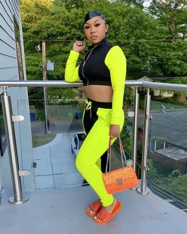 Casual Long Sleeve Crop Top Sweat Pants Two Piece Tracksuit