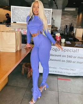 Casual Ruched Bodycon Trousers Two Piece Pants Set