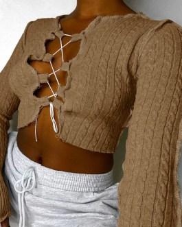 Casual Tie Up Solid Color Long Sleeve Crop Top