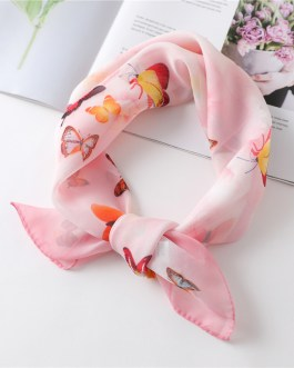 Chiffon Butterfly Print Square Neck Scarf