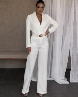 Elegant Long Sleeve Loose Trousers Blazer And Pants Set