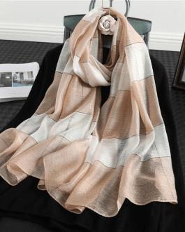 Fashion Silk Wool Striped Scarf