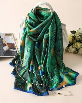 Fashion peacock print silk scarves