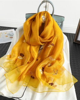 Floral Print Embroidery Silk Wool Soft Stoles
