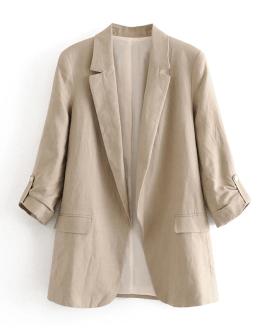 Half Sleeve Pockets Office Blazers