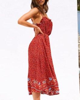 High waist a line cotton casual maxi dress