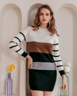 Knitted elegant korean sweater dress