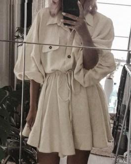 Lantern sleeve sash buttons lace up linen dresses