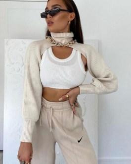 Long Sleeves Turn Collar Acrylic Sweaters