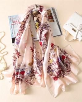 Luxury brand floral print silk scarves