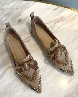 Micro Suede Upper Loafers Pointed Toe Studded Casual Flat Shoes