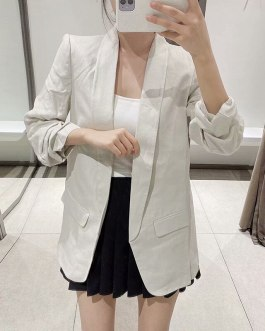 Notched Collar Casual Pockets Suit Blazers