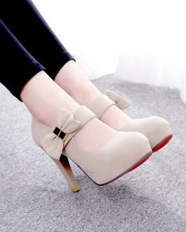 Platform Pumps Round Toe Bows Stiletto Heel Marry Jane High Heel Shoes