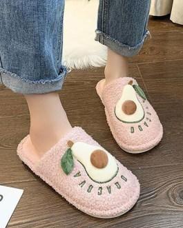 Plush Knitting Wool Upper Opened Toe Pear Pattern Slipper