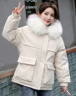 Pockets Hooded Zipper Long Sleeves Casual Coat Outerwear