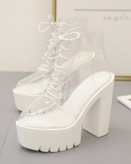 Pointed Toe Chunky Heel PVC Upper Sheer Boots
