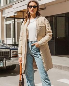 Puffer Coats Jewel Neck Zipper Long Sleeves Casual Polyester Outerwear