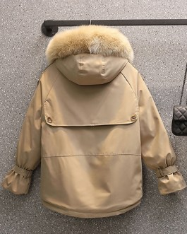 Puffer Coats Long Sleeves Polyester Thicken Coat Outerwear