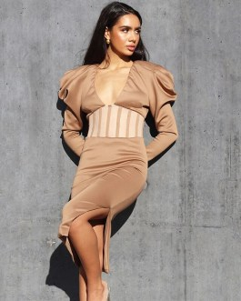 Sexy Puff Sleeve Cut Out Side Split Mesh Party Long Dresses