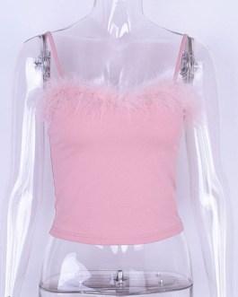 Sleeveless Cotton Blend Fur Edge Vest Sexy Top