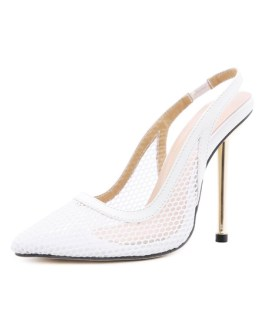 Spike Heel Pointed Toe PU Leather Sling Back Sandals