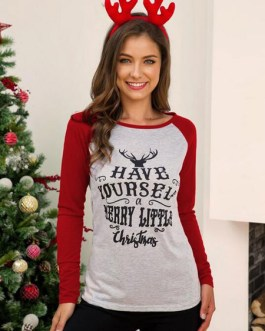 T Shirt Long Sleeves Polyester Christmas Pattern Jewel Neck