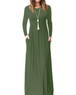 Casual Attire Jersey Cotton Knit Fabric Long Sleeve Maxi Dress