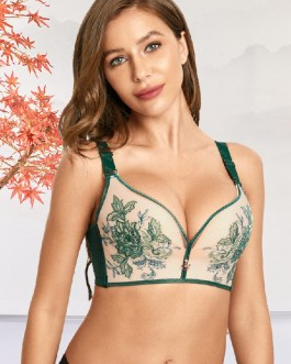 Embroidery Wireless Gather Lace Adjustable Straps Bra