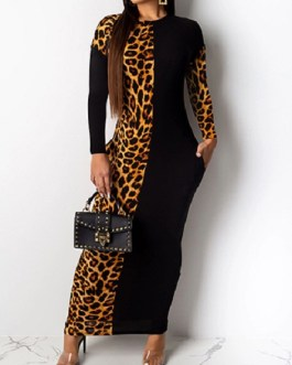 Large Leopard Print Insert Long Bodycon Dress