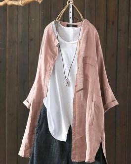 Long Sleeve Button Down Cotton Asymmetric Vintage Blouse