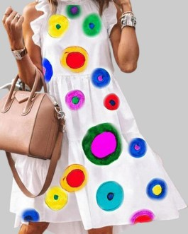 Multi-color Dot Print Sleeveless Stringy Selvedge Dress