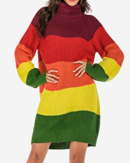 Patchwork High Neck Knit Long-sleeved Casual Sweater