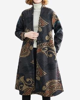 Print Woolen Plus Velvet Thickening Long Coat Windbreaker