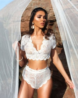 Sexy Plain Hollow Lace Two-pieces Homewear Set