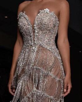 Sexy Sequins Tassels Midi Party Dress