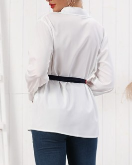 Single-breasted Blouse Lace Up Shirt