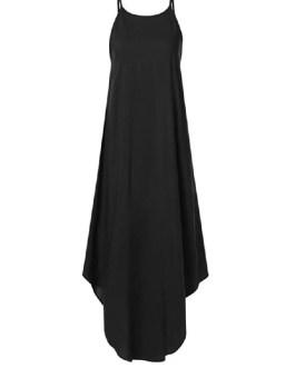 Sleeveless Straps High Low Hem Solid Causal Maxi Dress