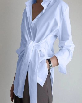 Solid Color Wrap Lapel Long Sleeve Casual Shirts