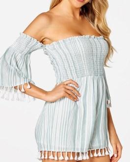Striped Print Tassel Hem Off-shoulder Short Sleeve Casual Romper