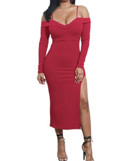 Sweetheart Neckline Thin Shoulder Straps Side Split Party Dress