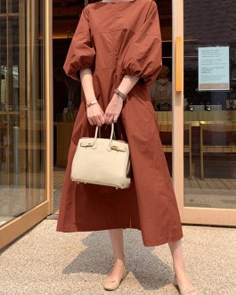 Casual O-Neck Puff Sleeves Swing Maxi Dress