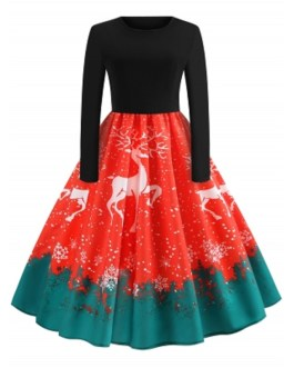 Christmas Elk Print Fit and Flare Dress