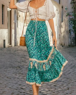 Floral print Roman style sash bottoms A-line long skirt