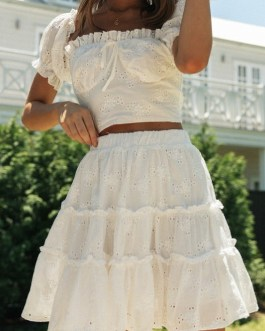 Roman style puff sleeve top and embroidery skirt Bow sash 2 pieces Set