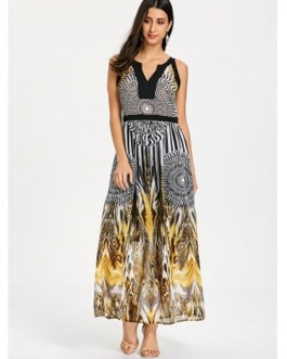 Round and Leopard Print Sleeveless Maxi Dress