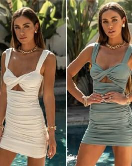 Sexy Solid Color V Neck Crease Dress