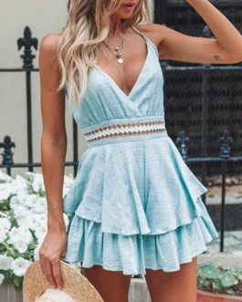 Sexy Spaghetti Strap Backless Short Jumpsuit And Rompers