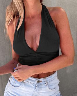 Sexy lace-up wrinkle streetwear crop top